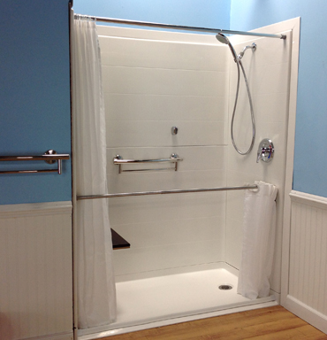 "Caregiver Showering System Includes Telescopic/Pivoting Rod and Curtain (66"" W x 33"" H)"